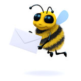 3d Mail bee. 3d render of a bee with an envelope Royalty Free Stock Photos