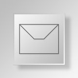 3D Mail Button Icon Concept. 3D Symbol Gray Square Mail Button Icon Concept Stock Images