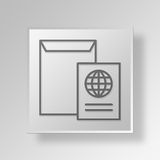 3D Mail Button Icon Concept. 3D Symbol Gray Square Mail Button Icon Concept Royalty Free Stock Images