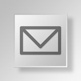 3D Mail Button Icon Concept. 3D Symbol Gray Square Mail Button Icon Concept Stock Photos