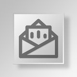 3D Mail Button Icon Concept. 3D Symbol Gray Square Mail Button Icon Concept Stock Photography