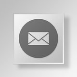 3D Mail Button Icon Concept. 3D Symbol Gray Square Mail Button Icon Concept Stock Image
