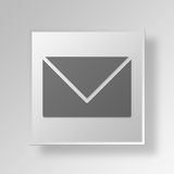 3D Mail Button Icon Concept. 3D Symbol Gray Square Mail Button Icon Concept Royalty Free Stock Photo