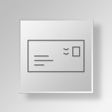 3D Mail Button Icon Concept. 3D Symbol Gray Square Mail Button Icon Concept Royalty Free Stock Photos