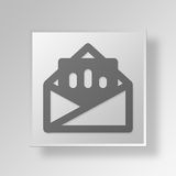 3D Mail Graph Button Icon Concept. 3D Symbol Gray Square Mail Graph Button Icon Concept Royalty Free Stock Image