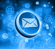 3d mail icon. On abstract blue background Royalty Free Stock Photo