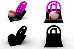 3d mail icon with laptop concept collections with alpha and shadow channel Royalty Free Stock Image