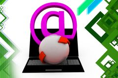 3d mail icon with laptop  illustration Royalty Free Stock Images