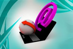 3d mail icon with laptop  illustration Royalty Free Stock Image