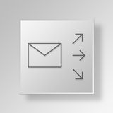 3D mailing Button Icon Concept Stock Photography