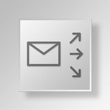 3D mailing Button Icon Concept Stock Image