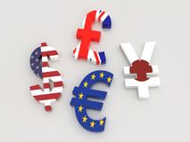 3D major currency symbols. 3D rendering of USD, Euro, Yen and British Pound currency symbols wrapped around with national flags on white background Stock Photos