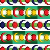 3d Malaysia flag element combine Malay green diagonal color symmetry seamless pattern stock illustration