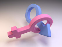 3D Male and Female Gender Symbols. 3D computer generated render of male and female gender symbols Royalty Free Stock Images