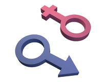 3D Male and Female Gender Symbols. 3D computer generated render of male and female gender symbols isolated on a white background Royalty Free Stock Photos