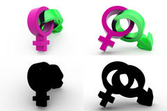 3d male female sign concept collections with alpha and shadow channel Stock Photo