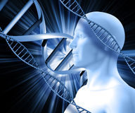 3D male figure on an abstract DNA background Stock Images