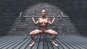 3D male figure in barbell squat pose in grunge interior royalty free illustration