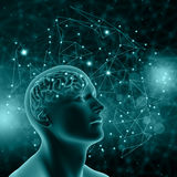 3D male figure with brain on background with connecting dots and Royalty Free Stock Photo