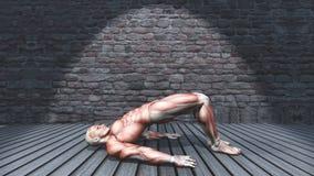 3D male figure in double leg bridge pose in grunge interior 2009 stock illustration