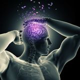 3D male figure holding head with shattering brain effect stock illustration