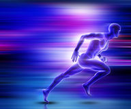 3D male figure sprinting with motion effect. 3D render of a male figure sprinting with motion effect Stock Images