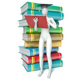 3D male graduate on white background Royalty Free Stock Images