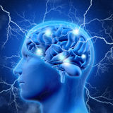 3D male head and brain with lightening Stock Photo