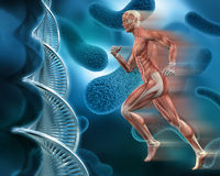 3d male medical figure on abstract DNA virus background stock illustration