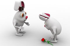 3d male rabbit fearing to propose female rabbit with rose concept Stock Images