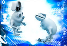 3d male rabbit fearing to propose female rabbit with rose illustration Stock Photo