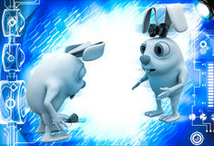 3d male rabbit fearing to propose female rabbit with rose illustration Royalty Free Stock Photo