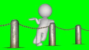 3D people behind chains blockade - green screen. 3D male standing behind a barrier of metal bollard with chains - isolated on green background stock illustration