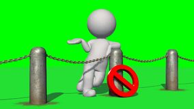 3D people behind chains blockade - isolated on green background. 3D male standing behind a barrier of metal bollard with chains and with prohibition sign vector illustration