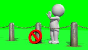 3D people behind chains blockade - green screen. 3D male standing behind a barrier of metal bollard with chains, prohibition sign and shows stop with hand royalty free illustration