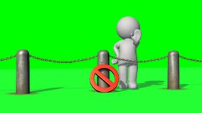 3D people behind chains blockade - green screen. 3D male standing behind a barrier of metal bollard with chains, prohibition sign and shows stop with hand stock illustration
