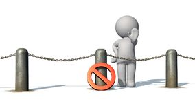 3D people behind chains blockade - isolated on white background. 3D male standing behind a barrier of metal bollard with chains, prohibition sign and shows stop stock illustration