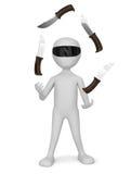 3D mali ludzie - żonglujący z nożami. ilustracja wektor