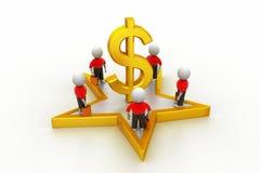 3d mali ludzie stoi na dolarowym znaku i gwiazdzie Zdjęcia Stock