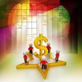 3d mali ludzie stoi na dolarowym znaku i gwiazdzie Zdjęcie Stock