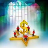 3d mali ludzie stoi na dolarowym znaku i gwiazdzie Obrazy Stock