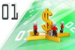 3d mali ludzie stoi na dolarowym znaku i gwiazdzie Zdjęcia Royalty Free