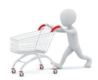 3d mali ludzie - wózek na zakupy. Obraz Stock