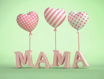 3D Mama Text with balloons in shape of heart Stock Photography