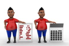 3d man abacus and calculator Royalty Free Stock Photos