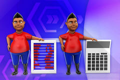 3d man abacus and calculator illustration Royalty Free Stock Photo