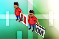 3d man abacus and calculator illustration Royalty Free Stock Photos