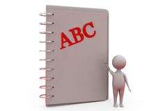 3d man with abc book concept Royalty Free Stock Photos