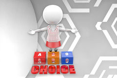3d man abc choice illustration Stock Photos