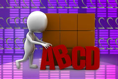 3d man abcd illustration Stock Photography